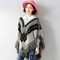 Graphic Knitted Tassel Hem Pullover Cape Sweater