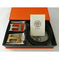 Brand New Authentic Hermes Black 110CM/38MM Belt 2H Golden-Sliver Buckle