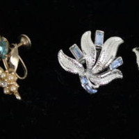 2 pairs of Vintage Coro Clip on Earrings Blue Rhinestones Silver Gold Color