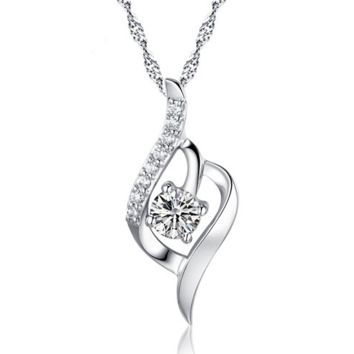 S925 Sterling Silver Necklace Zirconia Pendant