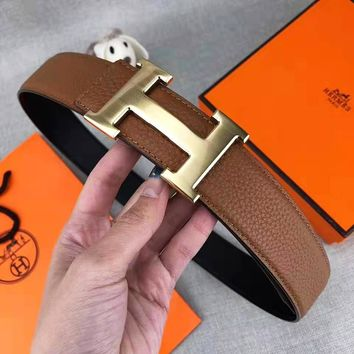 Hermes Classic Popular Woman Men H Letter Smooth Buckle Belt Leather Belt With Box
