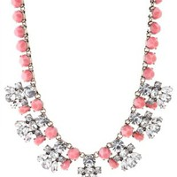 Pink Faceted Stone Statement Necklace by Charlotte Russe