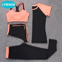 LYSEACIA 4 in 1 Fitness Suit Women Large Size Yoga Set Female T-shirt Sports Bra Women's Yoga Shorts Leggings Pants Sports Suits