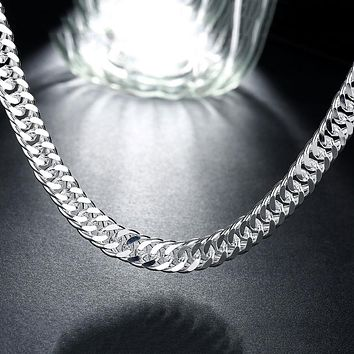Father's Day Gift Thick Snake Chain Necklace in 14K White Gold Plating