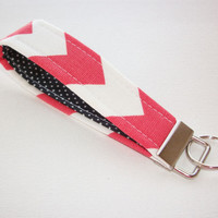 Key FOB / KeyChain / Wristlet key strap - Coral White chevron black white pin dots soft - gift for her under 10