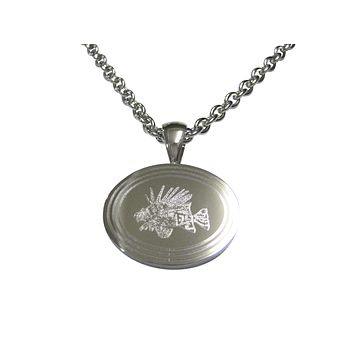 Silver Toned Etched Oval Lion Fish Pendant Necklace