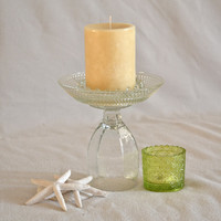 Vintage Glass Candle Holder Pedestal / Cupcake Stand / Jewelry Organizer