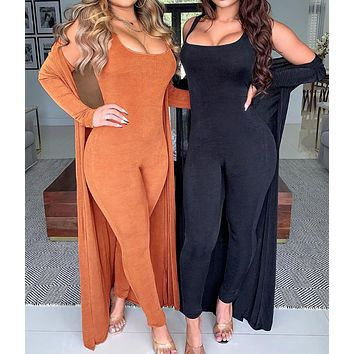 New fashion solid color casual two-piece knitted jumpsuit women