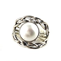 Pearl Sterling Silver Chain Reaction Ring