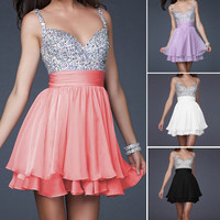 Homecoming Party Evening Bridesmaid Cocktail Dresses Bead Gown Formal Prom Dress