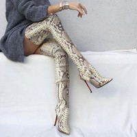 Snake-grain Pattern Pointed Toe Stiletto High Heels Over-knee Long Boots