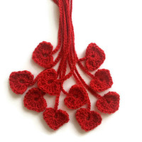 Crochet heart tags - set of 10 - red heart appliques, crochet embellishments, ornaments, decoration, bookmarks, red crochet Valentine hearts