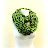 Knit  scarf, olive green knitted scarf, Long hand knitted scarf, infinity loop scarf, knitted scarves, long winter scarf