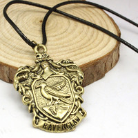 Harry Potter Hogwarts Ravenclaw School Badge Pendant Leather Rope Necklace