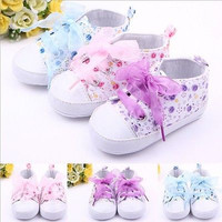 Infant Toddler Kids Shoes Girl Floral Sneakers Soft Soled Crib Lace Up Shoes Walking Sneaker