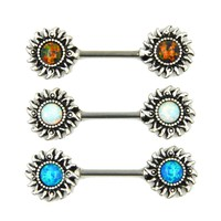 Synthetic Opal Sun Nipple Barbell Ring Piercing Body Jewelry Straight Bar 14g