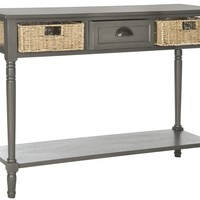 Winifred Wicker Console Table With Storage Grey