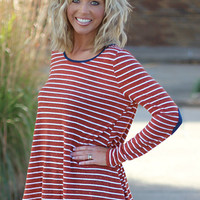 Stripes of Pumpkin Top with Elbow Patches