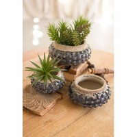 Set Of 3 Dark Blue Knobby Ceramic Planters