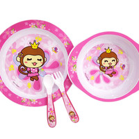 4-Piece High Quality Lovely Monkey Healthy Baby Dinnerware Set, Pink