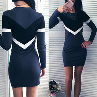 New Fashion Women Autumn Patchwork Bodycon Striped Dress Ladies Casual O neck Long Sleeve Slim Fit S
