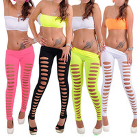 Women Black Candy Color Jeggings Stretchy Skinny Sexy Slim Hole Ripped Leggings
