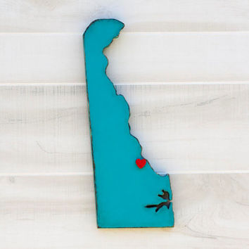 Delaware shape sign wood cutout wall art with heart or star 24 Colors. Wedding Guestbook Anniversary Gift Country Cottage Chic Decor