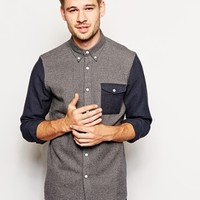 ASOS Shirt In Long Sleeve With Contrast Twist Yarn Sleeves