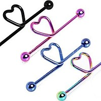 PVD Plated Heart Industrial Barbell
