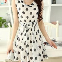 Scoop Neck Polka Dot Chiffon Mini Dress