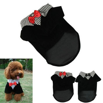 Fashion Small Pet Dog Clothes Western Style Men's Suit Bow Tie Puppy Costume = 1714509508