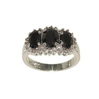 Unique Three Stone Silvertone Fashion Ring in Graduated Oval Jet Black Cubic Zirconia with Each Stone Framed with Tiny Clear CZ