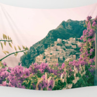 Positano Amalfi Coast Italy Pink Flowers Wall Art Tapestry Perfect for Living Room or Bedroom