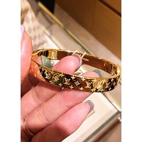 LV Louis Vuitton Classic Stylish Couple Chic High End High Quality Stainless Steel Bracelet I/A