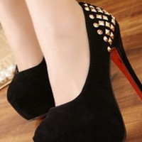 Suede Rivet High Heel Shoes in Red or Black  from Caminati-Collection