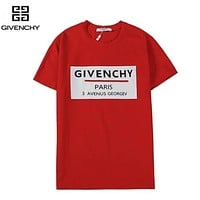 Givenchy Fashion New Letter Print Women Men Top T-Shirt  Red