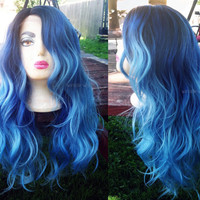 U.S.A. // Heat OK Blue & Turquoise Ombre LACE FRONT Wavy Wig w/ Dark Roots + Invisible Part
