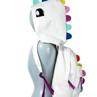 Plush Dinosaur Backpack With Removable Hood - White