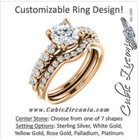 A CZ Wedding Set, Style 03-98 feat The Pamela engagement ring (Customizable with Round Bar Setting)