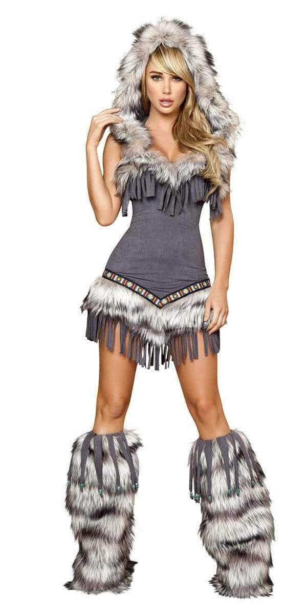 Image of Sexy Faux Fur And Fringe Indian Girl Halloween Costume
