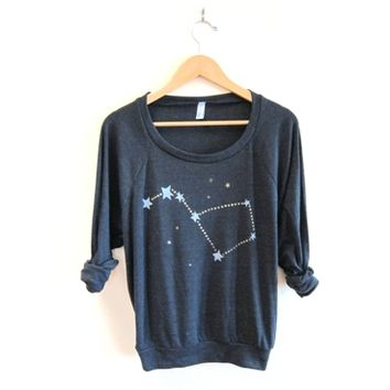 Big Dipper - HAND STENCILED Slouchy Eco Heather Deep Scoop Neck Lightweight Sweatshirt in Heather Black and Gold