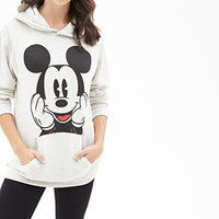 FOREVER 21 Mickey Mouse Graphic Hoodie Oatmeal/Black