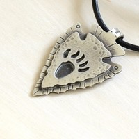 Arrowhead Necklace with Bear Paw in Rustic Hammered Sterling Silver