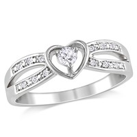 1/8 Carat White Sapphire and Diamond Fashion Ring in Sterling Silver