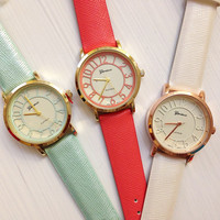 Cute Color Number Faux Leather Strap Band Watches #W28