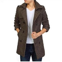 Trench Coat Men 2015 Fashion Double Breasted Trench Coat Men Woolen Trench Coat Masculino Fit Winter Men Long Coats