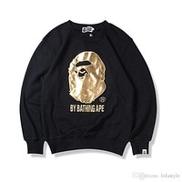 Autumn Winter Men Women Bronzing Ape Head Embroidery Pullover Sweater Round Neck Sweater Hoodie Sweatshirt Sizes S-2XL