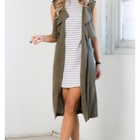 Sky Fall Trench Vest in Khaki