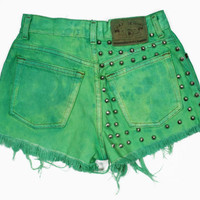High Waisted Dyed Hyper Vibrant Green Conical by shopbigbadwolf