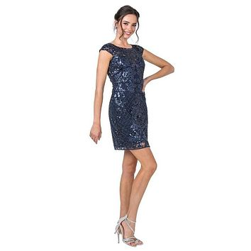 Sequin-Appliqued Short Formal Dress with Cap Sleeves Navy Blue